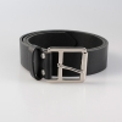 Ledergürtel Alicante 4 cm schwarz glatt viereckig Schnalle versilbert